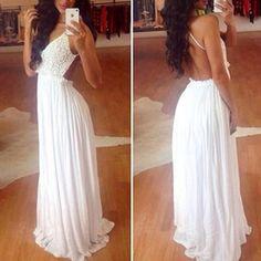 White Plain Lace Condole Belt Backless Splicing Draped V-neck Sexy Maxi Dress - Maxi Dresses - Dresses