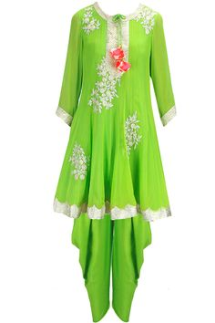 Lime green sequins and gota embellished anarkali set available only at Pernia's Pop-Up Shop.
