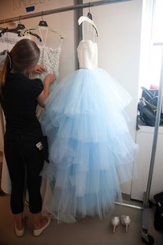 Something Blue: Color Wedding Dresses Tulle Ball Gown, Tulle Dress, Ball Gowns, Backstage, Cinderella Dresses, Cinderella Wedding, Oscar Dresses, Bridal Gowns, Wedding Dresses