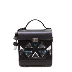 Black vegetable tanned leather backpack with handcrafted 3D pyramid embroidery from the Yunnan and Dali region. Available on DreamsCode.co.uk