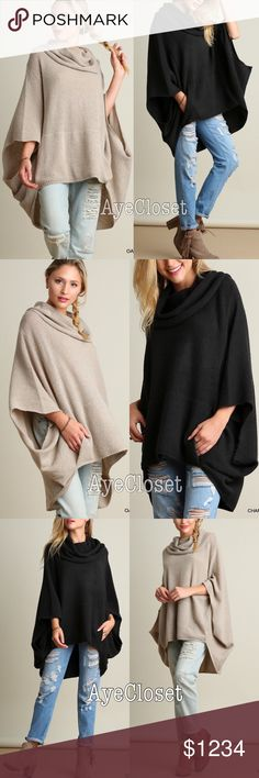 New trendy oversized poncho cape sweater cowl neck Trendy Oversized loose fit stunning poncho cape cowl neck sweater cardigan.  Sexy Coverup. Pairs with jeans , basic leggings and sexy leathers leggings. Fabric content : cotton 60% and 40%spandex. Lightweight comfy fabric. New with tags.retail item. ‼️️Two colors to choose from dark charcoal or oatmeal. ‼️Price is firm unless bundled‼️ Boutique Sweaters Shrugs & Ponchos