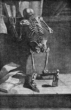 SKELETON READING, 1779 ... Copperplate originally in Jacques Gamelin (1738-1803) book: Nouveau recueil d'ostéologie et de myologie, dessiné d'après nature … pour l'utilit des sciences et des arts [A New Collection of Bones and Muscles, Drawn from Life… for the Use of Sciences and the Arts] (Toulouse: J.F. Desclassan, 1779) ... Why stop reading just because you're dead?