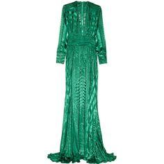 Balmain Velvet fil coupé gown ($2,157) ❤ liked on Polyvore featuring dresses, gowns, balmain, long dress, emerald, long fitted dresses, long gowns, velvet gown, green velvet gown and velvet dress
