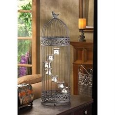 Shabby French Chic Birdcage tealight Candle holder with bird on top