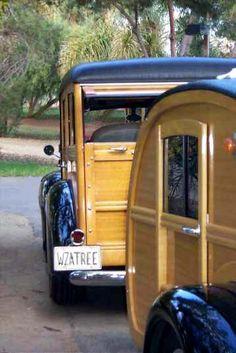 Old teardrop Ford woodie and 1948 teardrop trailer Retro Trailers, Vintage Travel Trailers, Camper Trailers, Vintage Rv, Vintage Caravans, Vintage Campers, Vintage Trucks, Vintage Wood, Vintage Style