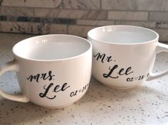 Personalized Couples Mug Hand Lettered by TheLetteringStudio Engagement Mugs, Calligraphy Name, Couple Mugs, Heat Treating, Bridal Shower Gifts, Ceramic Mugs, Hand Lettering, Wedding Styles, Names