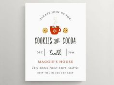 cookies and cocoa party invitation // holiday party // hot