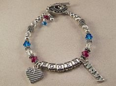 Sterling Silver Military Wife/Military Mom Army, Navy, Air Force, Marines or National Guard Bracelet.  $70.00 Total