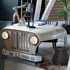 Infiltrate your office and become the Action Man or GI Jane of your (Wo)Man Cave with our Original Willy's Jeep Desk. This cool office desk is our last one and in the sale knock down.summer price from £1800 to £1200 100% recycled from a willy's jeep front end and upcycled into this unique design. Car furniture is trending right now in London and New York.
