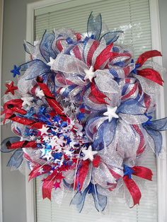 Patriotic Americana Red White Blue 4th of July by AnnieOjan