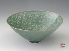 Korean Celadon Bowl, beautiful pattern. I believe this is from the Goryeo period.