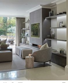 Nadire Atas on Sleek Elegant Home Decor 39 Adorable Contemporary Living Room Design Ideas room ideas brown room ideas layout room ideas diy living room room ideas modern living rooms Living Room Colors, Living Room Modern, Home Living Room, Contemporary Living Room Decor Ideas, Contemporary Lounge, Small Living, Living Area, Design Salon, Family Room Design