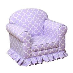 Purple Quatrefoil Skirted Kids Arm Chair | Kirklands