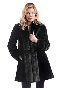 Black Sheared Beaver Tuxedo Faux Fur Coat