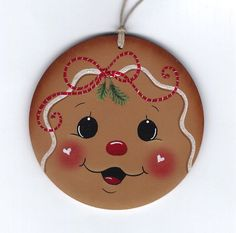 GINGERBREAD Face - Designed and handpainted by Pamela House