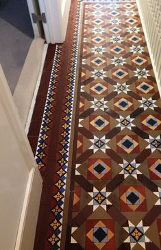 Victorian floor tiles and contemporary geometric ceramic tiles. Specialists in the design and supply of mosaic tile schemes. Victorian Hallway Tiles, Victorian Mosaic Tile, Tiled Hallway, Antique Tiles, Floor Design, Tile Design, Chettinad House, Hall Tiles, Hall Flooring