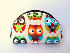 Zipper cosmetic pouch Cute owls Turquoise blue by LuckyCatHandmade, €12.00