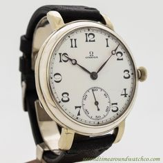1931 Vintage Omega Pocket Watch Converted To Wrist Watch Nickle Case watch with Original White Enamel Dial with Black Arabic Numbers. A One-Of-A-Kind watch. Triple Signed. Case Excellent Condition Cas