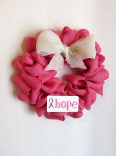 Burlap Breast Cancer Awareness Wreath HOPE, Cancer Awareness. $27.00, via Etsy.