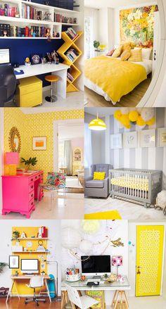 Amarelo na Decoração - Quartos e home office