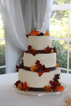 wedding cake fall leaves - Google Search