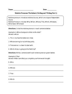 Relative Pronoun Worksheet Worksheets for all | Download and Share ...