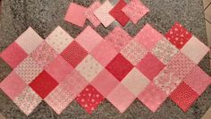 Valentine's Day table runner and coasters.  Made using the same pattern I used for the Easter table runner, courtesy of The Missouri Star Quilt Co.