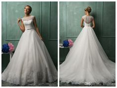 Wholesale Wedding Dresses - Buy Amelia Sposa 2014 New Style Scoop Neck Wedding Dresses Cap Sleeve Illusion Back A-Line Organza White Wedding Gowns With Lace Applique Beads, $159.68 | DHgate