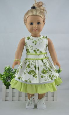 """Handmade Doll Clothes Fit 18"""" American Girl Doll (Green Pattern Two Piece) 128 