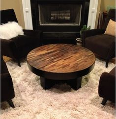 Round Coffee Table, Reclaimed Wood Coffee Table, Modern Coffee Table ...