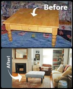 This doesn't really show you the how- but it is an example of a small table made into an ottoman and that's pretty cool