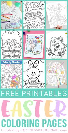 Free Printable Easter Coloring Pages are fun for kids of all ages! Easter egg coloring pages, Easter bunny coloring pages, Easter basket color-by-number sheets, and more adorable Easter pictures to color! Easter coloring sheets are perfect for the whole family! via @hiHomemadeBlog