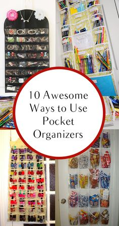 10 Awesome Ways to Use Pocket Organizers.liked idea of for rolled t-shirts which could also work for tank shirts and camisoles Household Organization, Craft Organization, Classroom Organization, Do It Yourself Organization, Organizing Your Home, Organising, Organizing Ideas, Pocket Organizer, Shoe Organizer