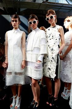 """naimabarcelona: """"Emily Meuleman, Lauren English and Ruby Jean Wilson Backstage at Erdem Spring 2014-RTW """""""