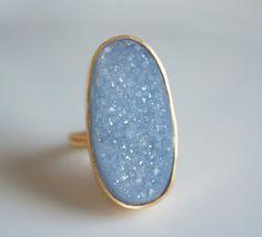 Aquamarine Blue Druzy Ring  Agate Geode Slice  Rough by OhKuol, $85.00