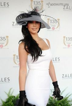 Kim Kardashian Kentucky Derby Ariane Hats.  She has guts to wear greys and blacks with a fitted summer sleeveless white dress... it works!