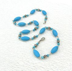 Dainty Turquoise necklace Sky blue bead chain Boho necklace gift for girlfriend sister daughter spring fashion casual jewelry for her by SanaGem on Etsy