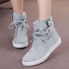 Womens-Casual-Sneakers-Buckle-Strap-Hiking-Flats-Lace-Up-High-Top-Sports-Shoes