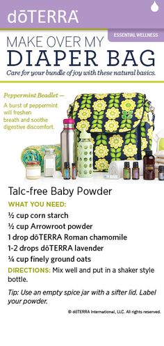 Recipe for talc-free baby powder made with dōTERRA essential oils. LIKE US ON FACEBOOK: https://www.facebook.com/sadoterra1  SHOP DOTERRA OILS HERE: http://www.mydoterra.com/sanderson2011/