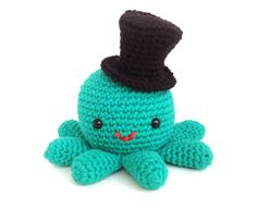Octopus with a Top Hat on Etsy
