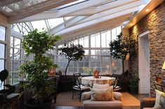 Bedroom Conservatory Design Modern Sunroom Furniture Modern Home Styles Interior Best Style Modern Sunroom Decorating Ideas Indoor Outdoor, Indoor Trees, Outdoor Spaces, Outdoor Living, Potted Trees, Indoor Plants, Big Plants, Outdoor Ideas, Veranda Design