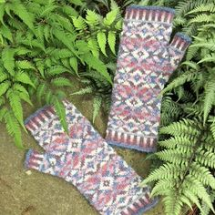 """Fair Isle knitting kit from Kidsknits.com. Shown: Ladies' """"Cholla Blossom"""" fingerless mittens by Mary Ann Stephens, to be knit in six different shades of Jamieson's Shetland Spindrift wool yarn."""