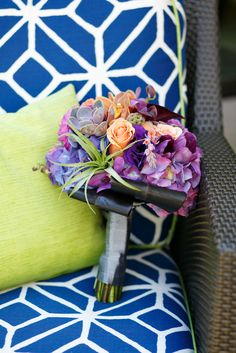 Peach And Purple Bouquet -   www.pixiespetals.com