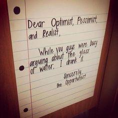 optimist, pessimist, opportunist