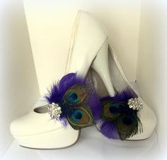 Bridal Shoe Clips   Peacock Shoe Clips Purple by ShoeClipsOnly, $38.00
