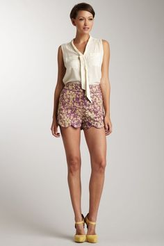 high waisted shorts with scalloped hem