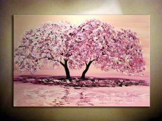 """Pink Cherry Blossom  Original Modern Abstract Large Painting.Impasto.Palette Knife.Thick Painting.Landscape 36"""" Ready to hang...- by Nata S. on Etsy."""