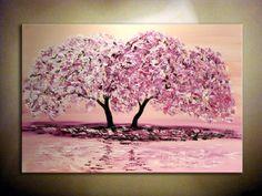 Original contemporáneo rosa flor de cerezo moderno por NataSgallery, $320.00