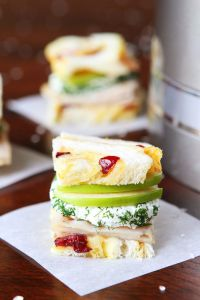 Turkey and Apple Goat Cheese Tea Sandwich