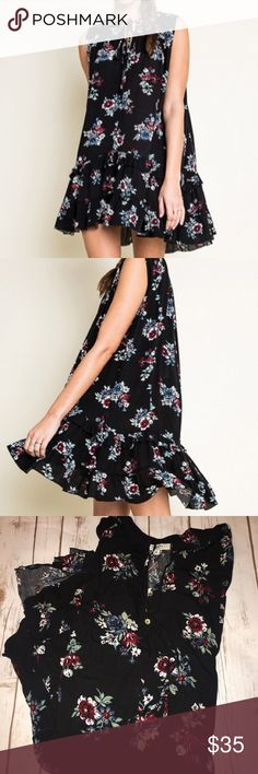 FLORAL PRINT RUFFLE HEM SHIFT DRESS Brand new 100% Rayon. Black with Floral design. Perfect for the new season can be worn casual or with those favorite heels in your closet. Have in Small Med and Large Size. Hayden Dresses Mini